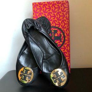 Tory Burch Classic Reva Ballet Flats Black Gold